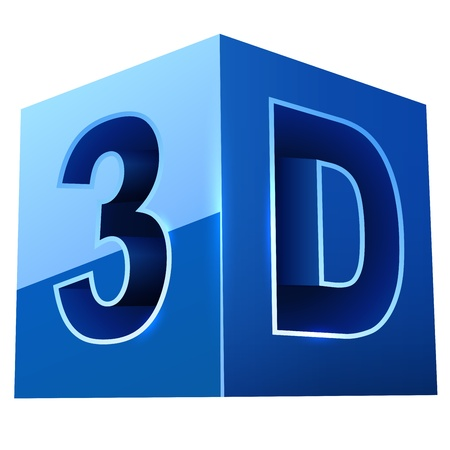 the third dimension: Blue cubic 3D video format sign isolated on white background