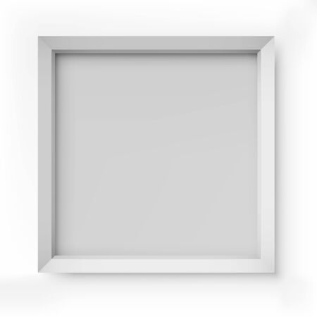 Blank white picture frame isolated on white background vector template  Vector