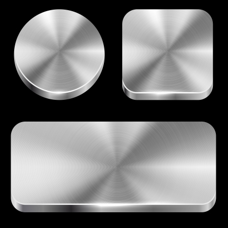 rounded rectangle: Blank brushed metal buttons isolated on black background vector template  Illustration