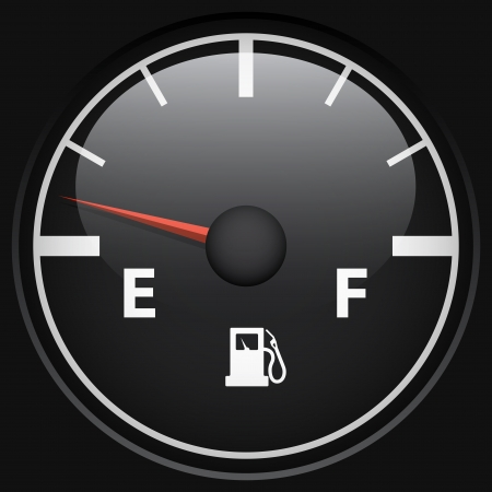 Black fuel gage isolated on black background vector template  Vector