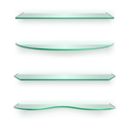 3D glass shelves of different shapes isolated on white background  Vector
