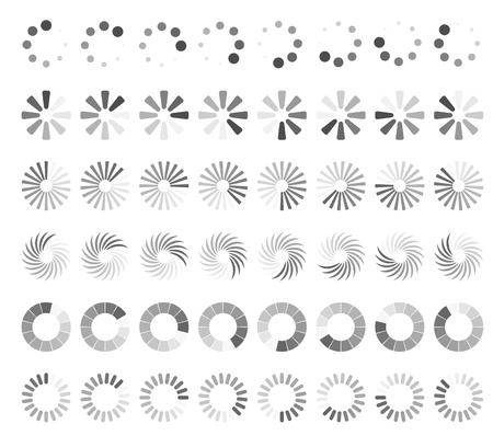Cargando la p�gina Web iconos de estado aislados en fondo blanco Vectores