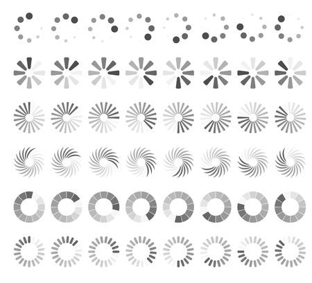 status: Web page loading status icons isolated on white background
