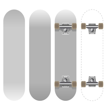 Blank white skateboard template vector illustration isolated on white background  Vector