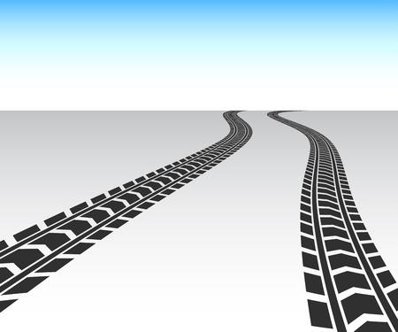 Perspectief zwarte vrachtwagenbanden spoor vector achtergrond Stock Illustratie