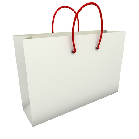 Empty white shopping bag with red handles isolated on white background  photo