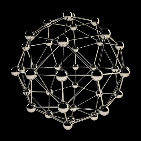 Sphere wireframe chrome structure isolated on black background  photo
