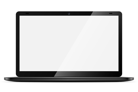 ultrabook: Modern black thin laptop with blank screen isolated on white background