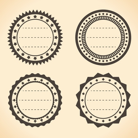 Blank vintage round quality labels illustration. Vector