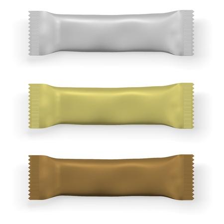 casse-cro�te: Chocolat blanc ou prot�ine mod�le d'emballage de bar isol� sur fond blanc. Illustration
