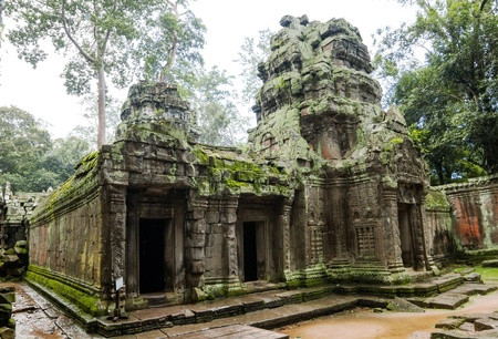 Ancient Ta Prohm or Rajavihara Temple structure at Angkor, Siem Reap, Cambodia. photo