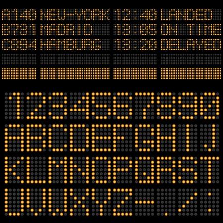 cronograma: Aeropuerto Pensión Horario plantilla alfabeto y los números.
