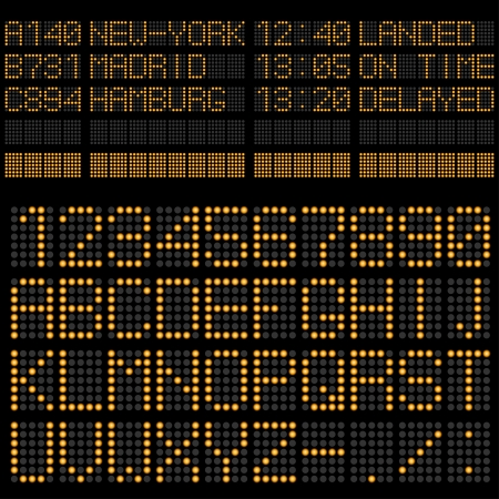 Luchthaven tijdschema boord sjabloon alfabet en cijfers.