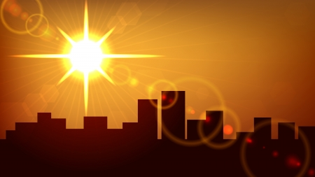 City sunset  background.  Vector