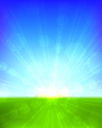 Bright sunrise vertical vector background. EPS10 file. Vector