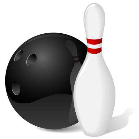 bowling pin: Bowling ball and pin isolated on white.