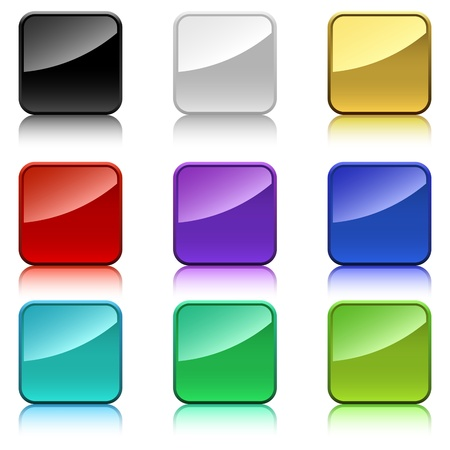 Blank color square buttons with rounded corners. Stock Vector - 19685096