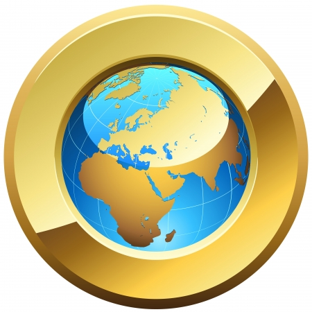 Globe button rimmed with golden glossy frame isolated on white. Vector