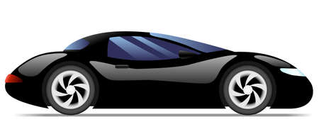 car side view: Black modern sport car. Side view. Illustration