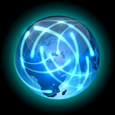 Communication concept  Globe with light traces rotating around  Stock Vector - 19685141