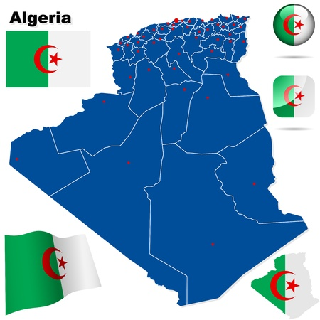 algeria: Algeria set  Detailed country shape with region borders, flags and icons isolated on white background