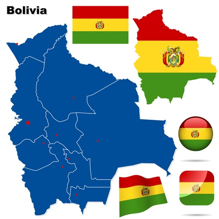 Bolivia  set  Detailed country shape with region borders, flags and icons isolated on white background  Vector