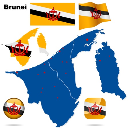 map of brunei: Brunei set  Detailed country shape, region borders, flags and icons isolated on white background