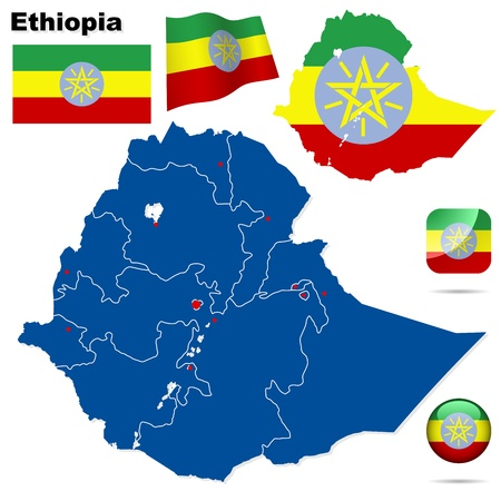 amharic: Ethiopia set  Detailed country shape with region borders, flags and icons isolated on white background