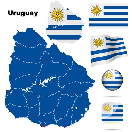 territories: Uruguay set  Detailed country shape with region borders, flags and icons isolated on white background