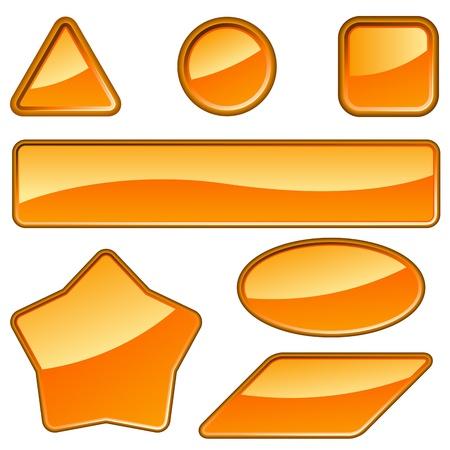白で隔離される光沢のあるオレンジ色のラベルのセット