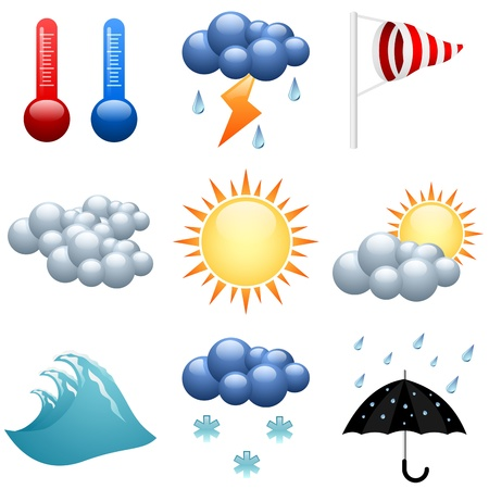 wind vane: Weather icons set  for forecast web pages