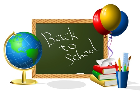 Blank blackboard with school accessories with copy space for your text Stock Vector - 19975558