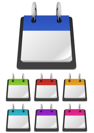 Blank tear-off calendar template in variety of colors