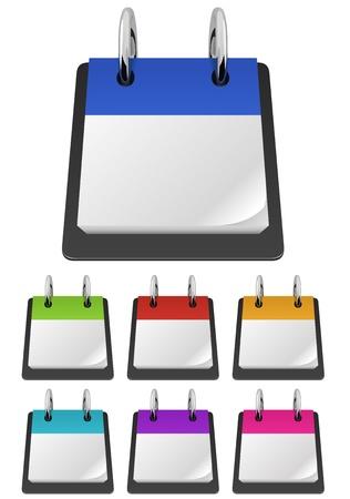 Lege scheurkalender template in diverse kleuren Stock Illustratie
