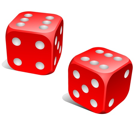 stake: Red and white dice with double six roll
