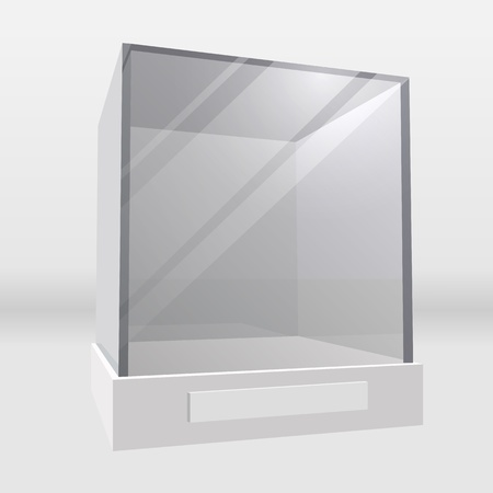 display: Empty exhibition or museum glass display cabinet realistic illustration