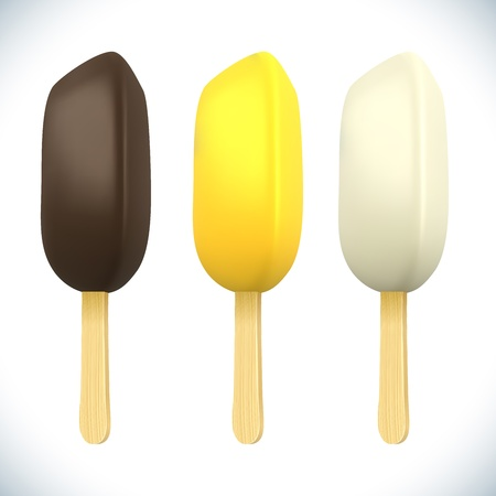 ice lolly: Stick ice-cream bar with chocolate topping isolated on white background  Illustration
