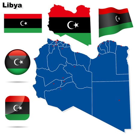 Libya set  Detailed country shape with region borders, flags and icons isolated on white background  Flag of National Transitional Council  2011   Vector