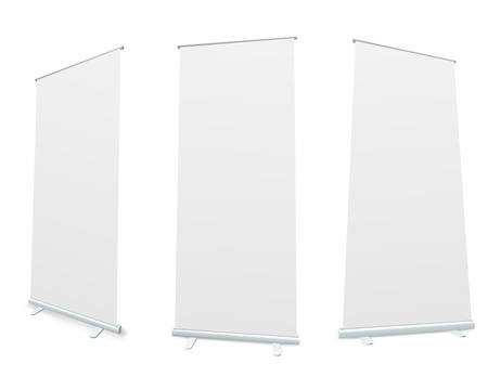 rollup: Roll-up blank white display realistic vector illustration  Illustration