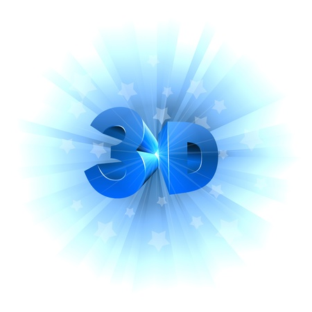 the third dimension: 3D video format sign isolated on white  Illustration