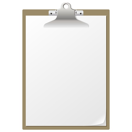Blank paper on clipboard isolated on white background
