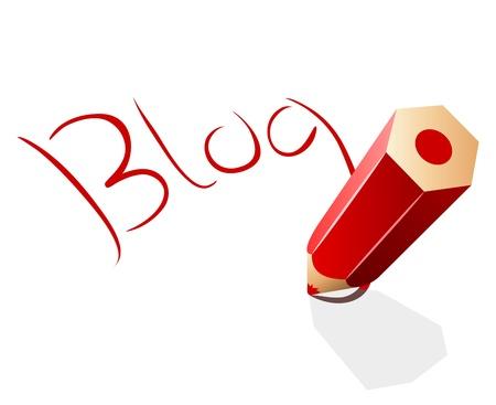 weblog: Blog concept illustration with red pencil  Illustration