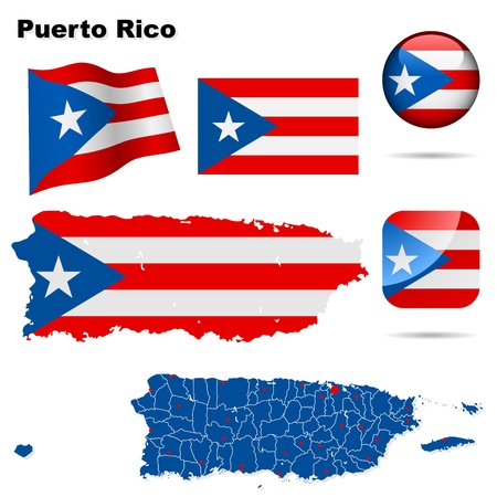 Puerto Rico set  Detailed country shape with region borders, flags and icons isolated on white background