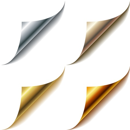 Curled metallic page corners set isolated on white  Vector