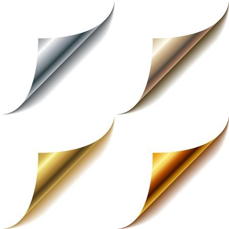 Gekrulde metallic pagina hoeken ingesteld op wit wordt geïsoleerd Stockfoto - 19975603