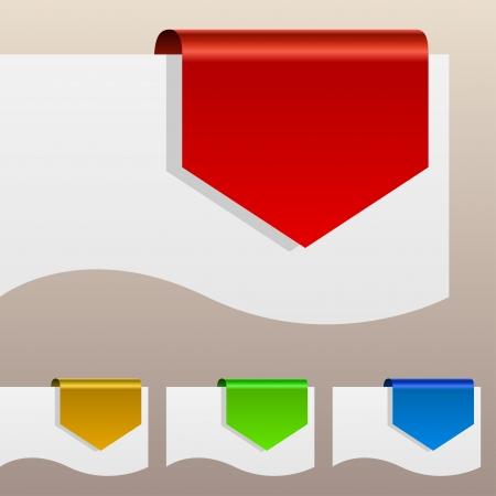 用紙の端の周り曲がって赤割引ラベル  イラスト・ベクター素材