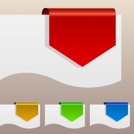 Red discount labels bent around paper edge