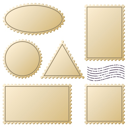 sello postal: Los sellos de correos establecen aislado en blanco