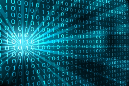 Abstract binary code 3D cyan background. Vector