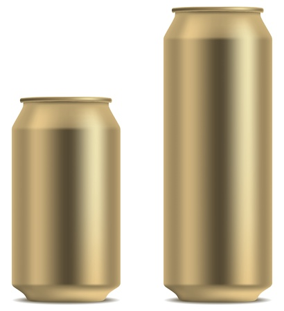 ml: Blank yellow beer can in 2 variants 330 and 500 ml isolated on white background  Illustration